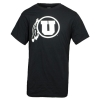 Image for Utah Utes Athletic Logo White on Black T-Shirt