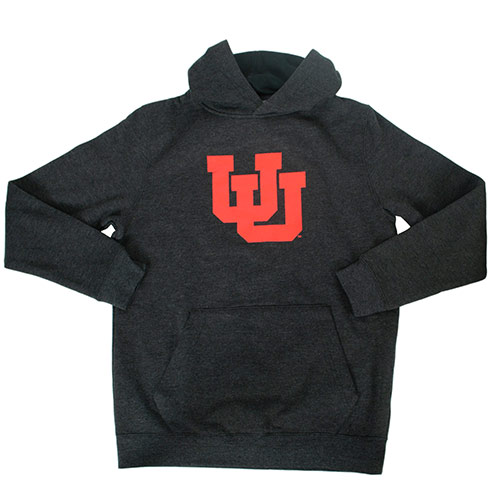 Image For Utah Utes Interlocking U Youth Charcoal Hoodie