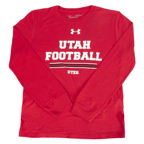 Image For Utah Utes Under Armour Youth Football Long Sleeve Shirt