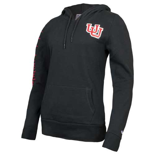 Image For Utah Utes Interlocking U Women's Black Champion Hoodie