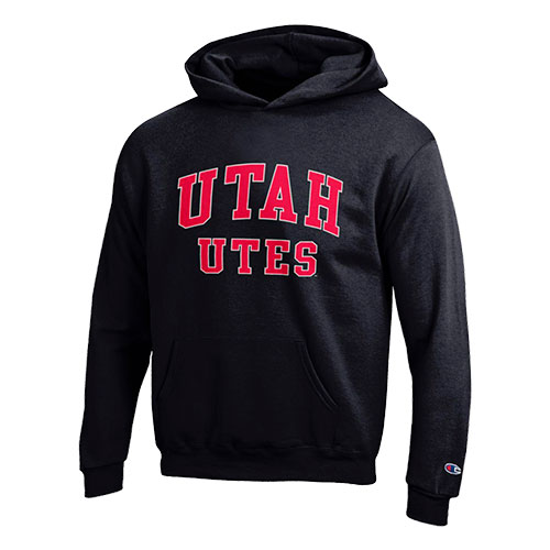 Cover Image For Utah Utes Youth Black Arched Champion Hoodie