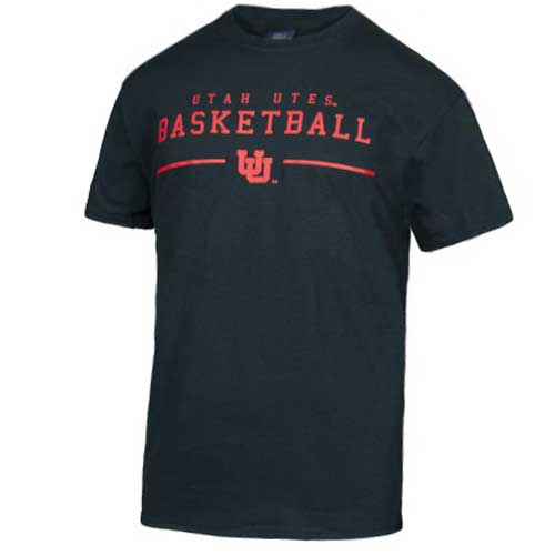 Image For Utah Utes Basketball Interlocking U Youth T-Shirt