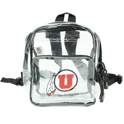 Image For Utah Utes Mini Black Clear Athletic Logo Backpack