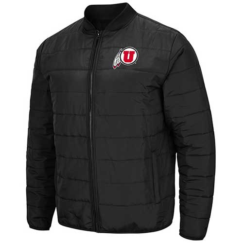Image For Utah Utes Athletic Logo Black Puffer Jacket