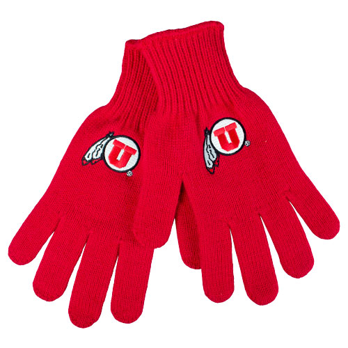 Image For Utah Utes Athletic Logo Red Fitted Knit Gloves