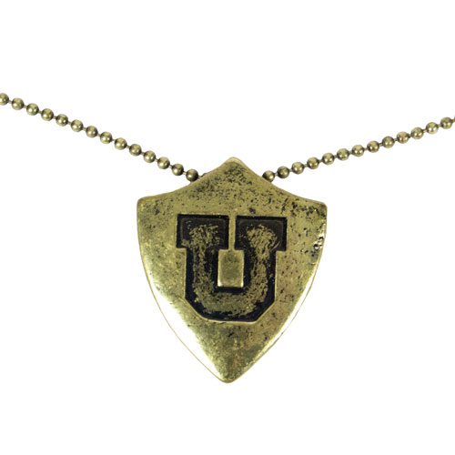 Image For Utah Utes Gold Block U Distressed Shield Necklace