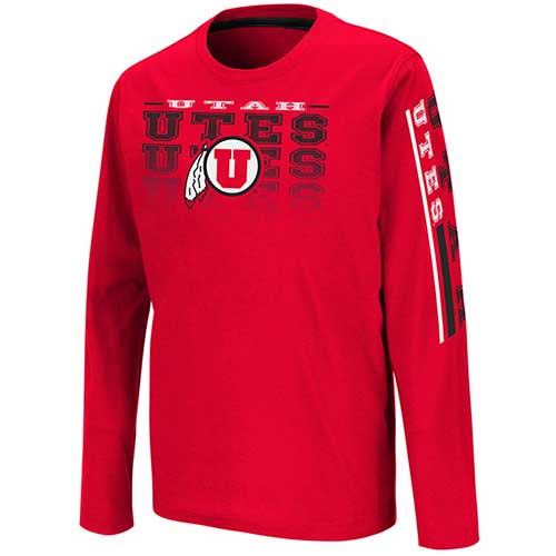 Image For Utah Utes Youth Long Sleeved Repeated Utes Tee Shirt
