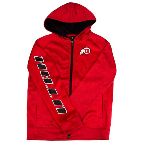 Image For Utah Utes Heathered Youth Full Zip Athletic Logo Hoodie