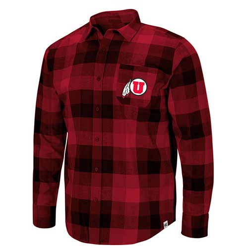 Image For Utah Utes Red Plaid Athletic Logo Flannel