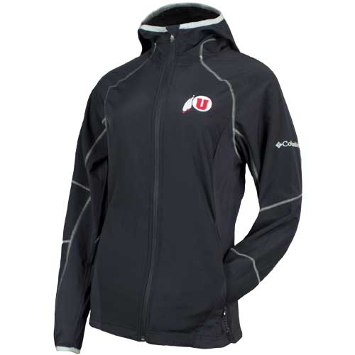 Image For Utah Utes Athletic Logo Women's Black Rain Jacket