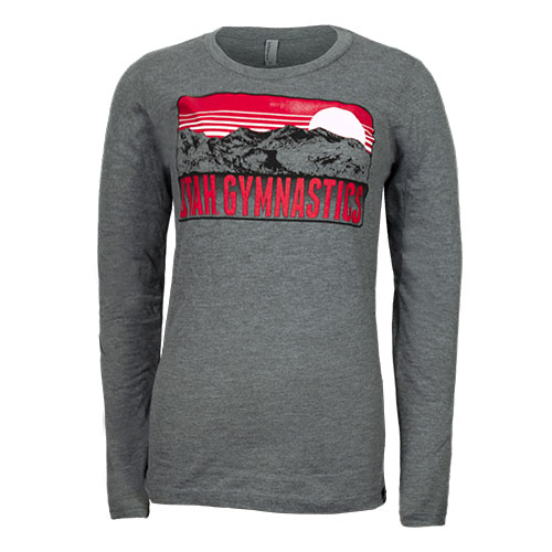 Image For Utah Utes Women's Long Sleeve Gymnastics Mountain T-Shirt
