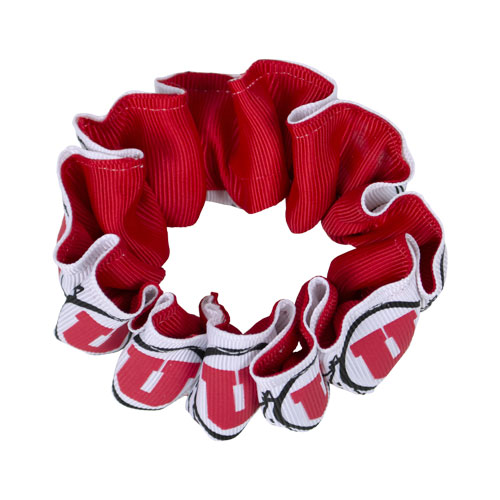 Image For Utah Utes Red and White Athletic Logo Scrunchie