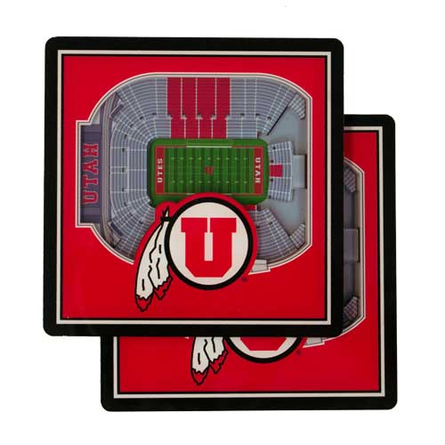 Image For Utah Utes 2 Pack 3D Stadium Coasters