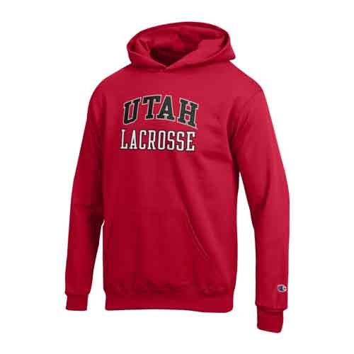 Cover Image For Utah Utes Champion Red Youth's Lacrosse Hoodie