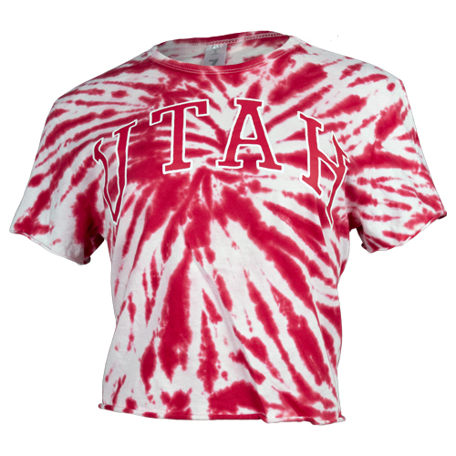 Image For Utah Utes Red Tie-Dye Utah Crop Top