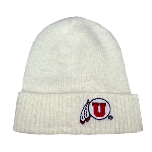 Image For Fuzzy Cream Athletic Logo Beanie