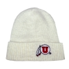 Image for Utah Utes Fuzzy Cream Athletic Logo Beanie