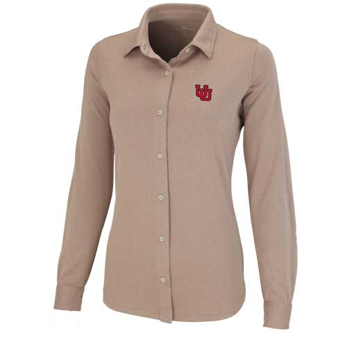 Image For Utah Utes Women's Interlocking U Recycled Fiber Button Down