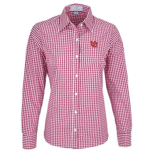 Cover Image For Utah Utes Interlocking U Gingham Check Button Down Shirt