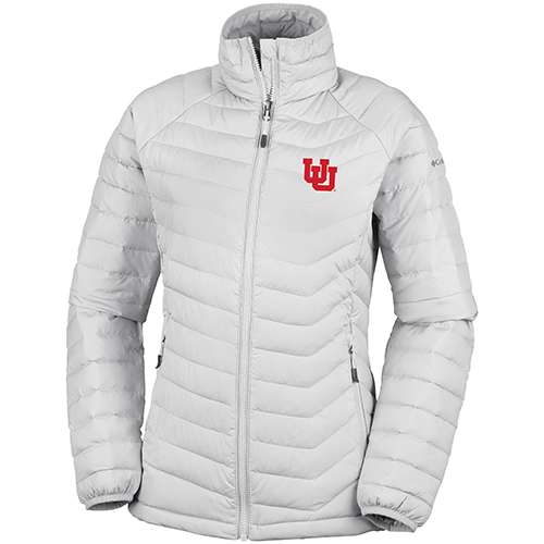 Image For Utah Utes Women's Interlocking U White Puffer Jacket