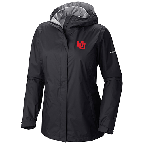 Image For Utah Utes Black n Grey Columbia Rain Jacket for Women