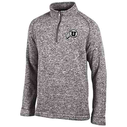 Image For Utah Utes Gray Athletic Logo Knitted Quarter-zip