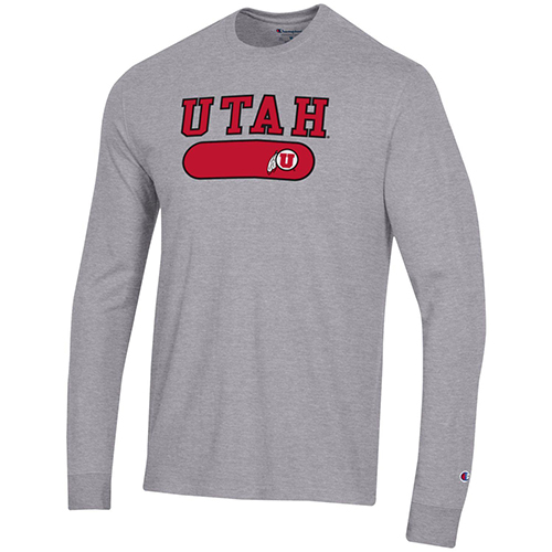 Image For Utah Utes Grey Champion Embroidered Long Sleeve