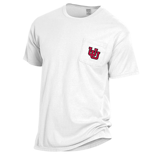 Image For Utah Utes Interlocking U White Pocket Tee