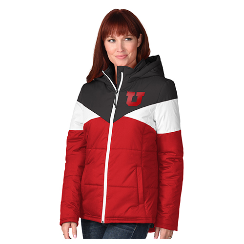 Image For Utah Utes Block U Colorblock Puffer Jacket