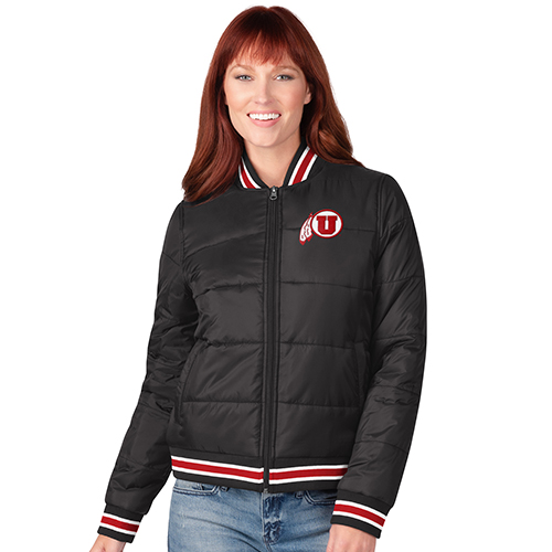 Image For Utah Utes Women's Tri-Color Bomber Jacket