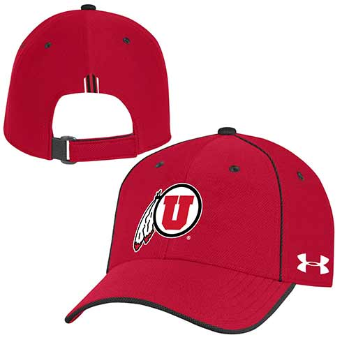 Image For Utah Utes Under Armour Adjustable Red Hat w/ Black Piping