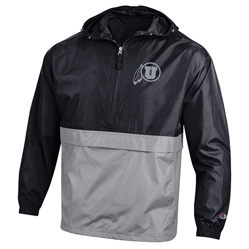 Image For Utah Utes Black n Gray Champion Zip-Up Windbreaker