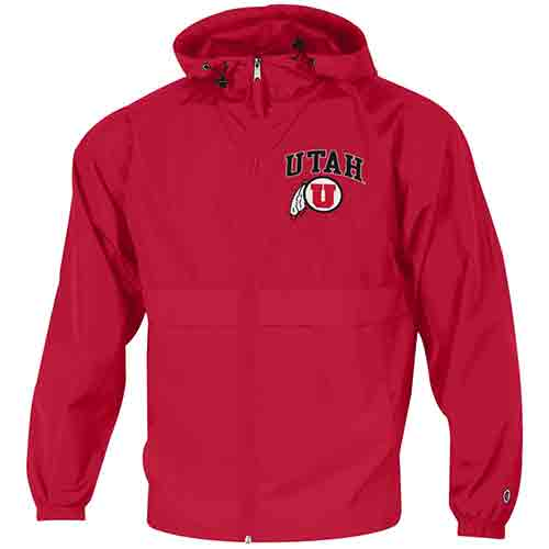 Image For Utah Utes Red Athletic logo Full-zip Windbreaker
