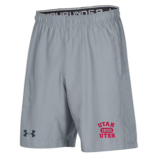 Cover Image For Utah Utes Men's Under Armour Gray Shorts