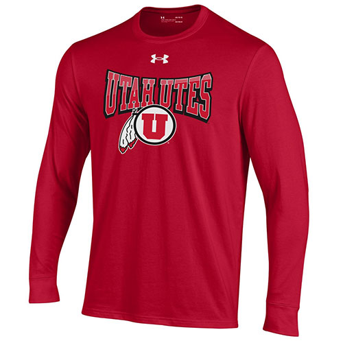Image For Utah Utes Youth Under Armour Athletic Logo Red Long Sleeve
