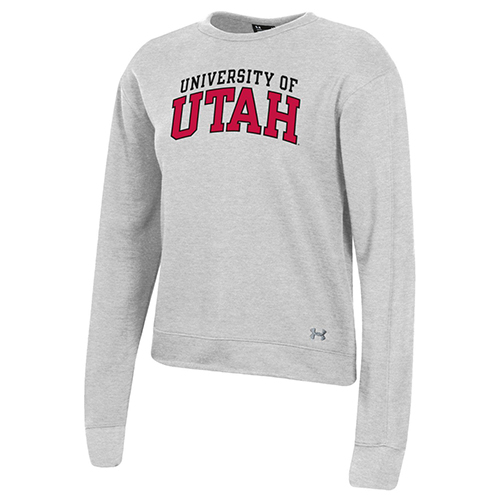 Image For University of Utah Women's Under Armour Grey Crewneck