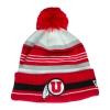 Image for New Era Grey Striped Utah Utes Athletic Logo Beanie