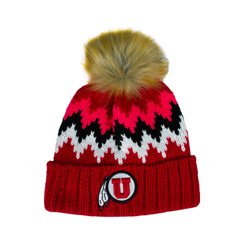 Image For New Era Knitted Red Chevron Athletic Logo Beanie