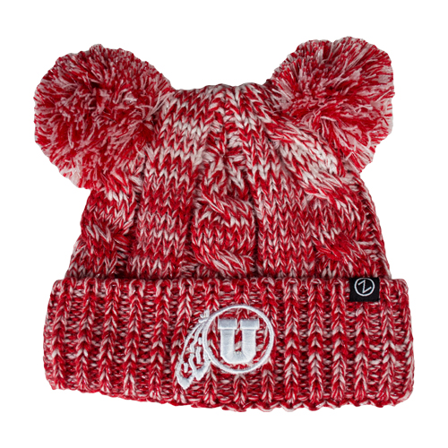 Image For Utah Utes Youth Athletic Logo Double Pom Beanie