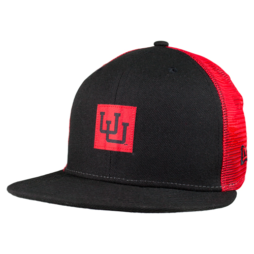Image For New Era Interlocking U Red Mesh Snapback