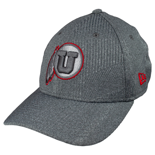 Image For New Era Grey n Red Athletic Logo Fitted Hat