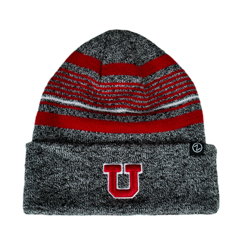 Image For Zephyr Colorado Collection Grey Striped Block U Beanie